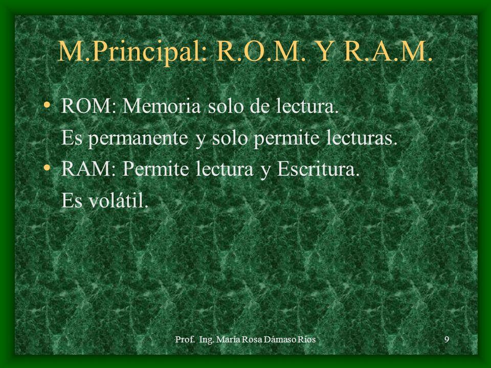 Prof. Ing. María Rosa Dámaso Ríos8 MEMORIA PRINCIPAL Llamada tambien Interna o Primaria. Almacena los datos y los programas necesarios para ejecutar a