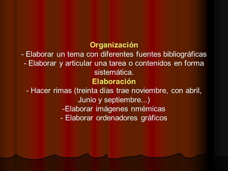 Organización - Elaborar un tema con diferentes fuentes bibliográficas - Elaborar y articular una tarea o contenidos en forma sistemática. Elaboración