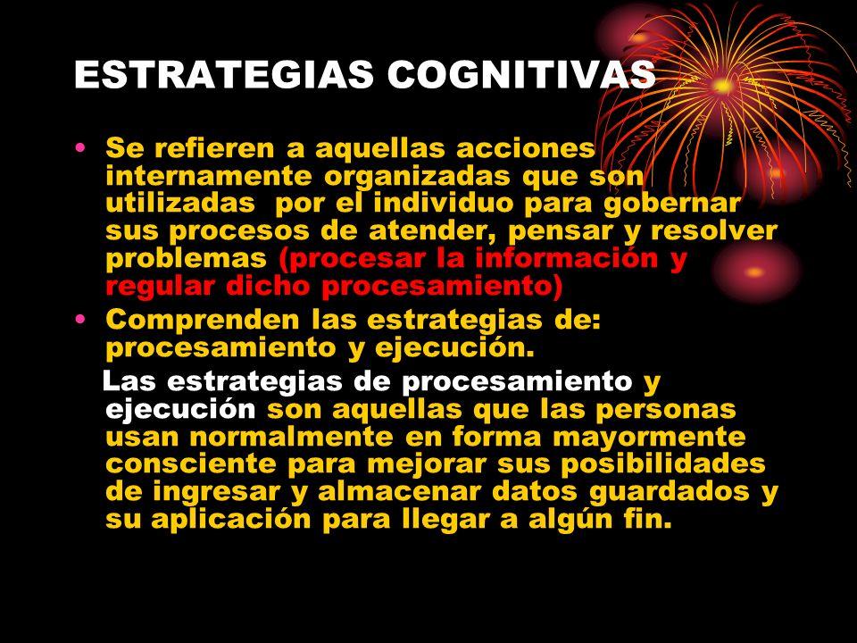 ESTRATEGIAS COGNITIVAS Se refieren a aquellas acciones internamente organizadas que son utilizadas por el individuo para gobernar sus procesos de aten