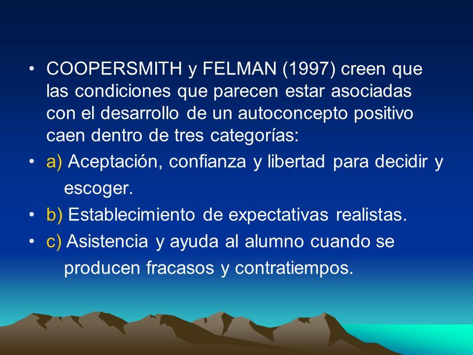 COOPERSMITH y FELMAN (1997) creen que las condiciones que parecen estar asociadas con el desarrollo de un autoconcepto positivo caen dentro de tres ca