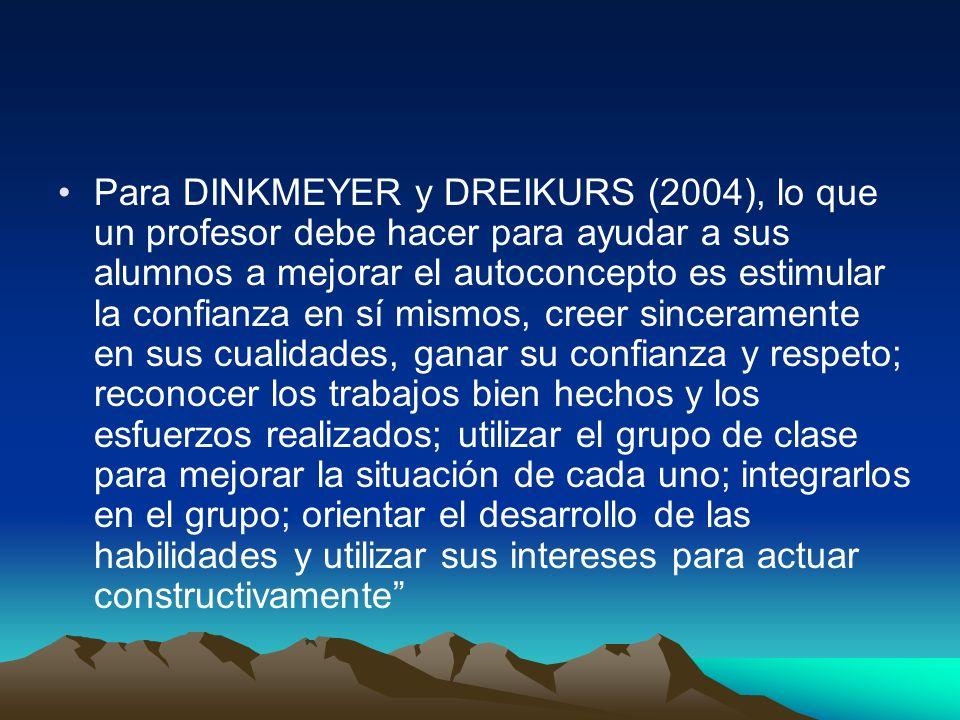 Para DINKMEYER y DREIKURS (2004), lo que un profesor debe hacer para ayudar a sus alumnos a mejorar el autoconcepto es estimular la confianza en sí mi