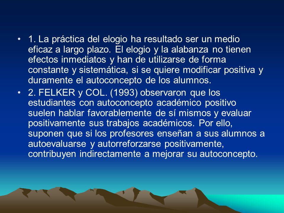 Cinco son los principios propuestos para cultivar en los alumnos la conducta autocompensadora: Que el profesor manifieste estar satisfecho de sí mismo.
