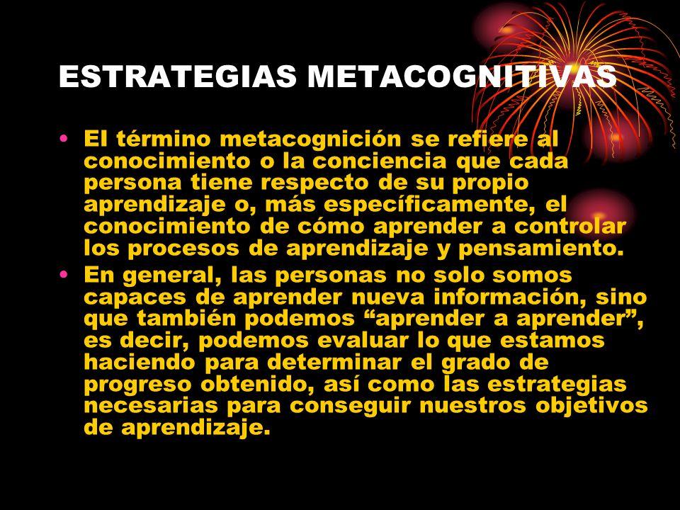 ESTRATEGIAS METACOGNITIVAS EI término metacognición se refiere al conocimiento o la conciencia que cada persona tiene respecto de su propio aprendizaj