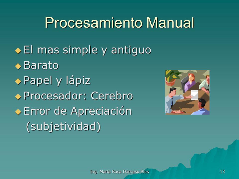 Ing. María Rosa Dámaso Ríos 12 Tipos de Procesamiento Manual Manual Mecánico Mecánico Electromecánico Electromecánico Electrónico Electrónico