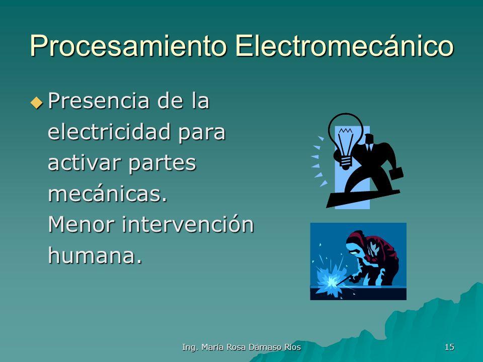 Ing. María Rosa Dámaso Ríos 14 Procesamiento Mecánico Para obtener más Para obtener más Precisión en Medición de Datos se usará Equipos mecánicos. Err