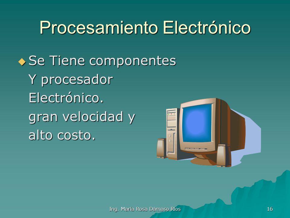 Ing. María Rosa Dámaso Ríos 15 Procesamiento Electromecánico Presencia de la Presencia de la electricidad para electricidad para activar partes mecáni