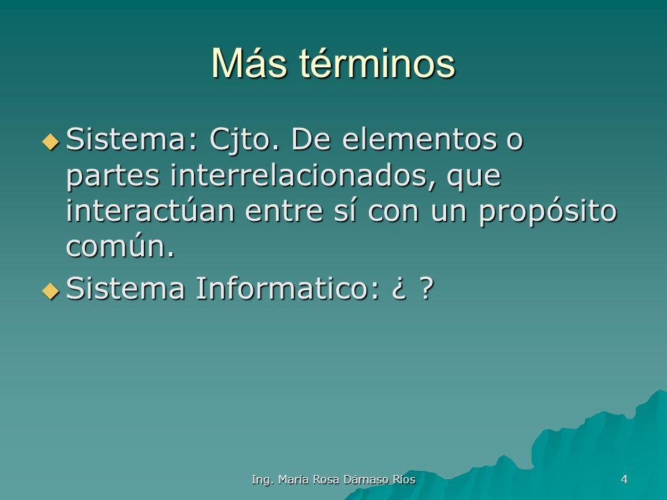 Ing. María Rosa Dámaso Ríos 3 Definiendo términos Dato: Conjunto de Simbolos. No tiene Dato: Conjunto de Simbolos. No tiene Utilidad, necesita interpr