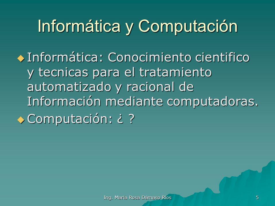 Ing. María Rosa Dámaso Ríos 4 Más términos Sistema: Cjto. De elementos o partes interrelacionados, que interactúan entre sí con un propósito común. Si
