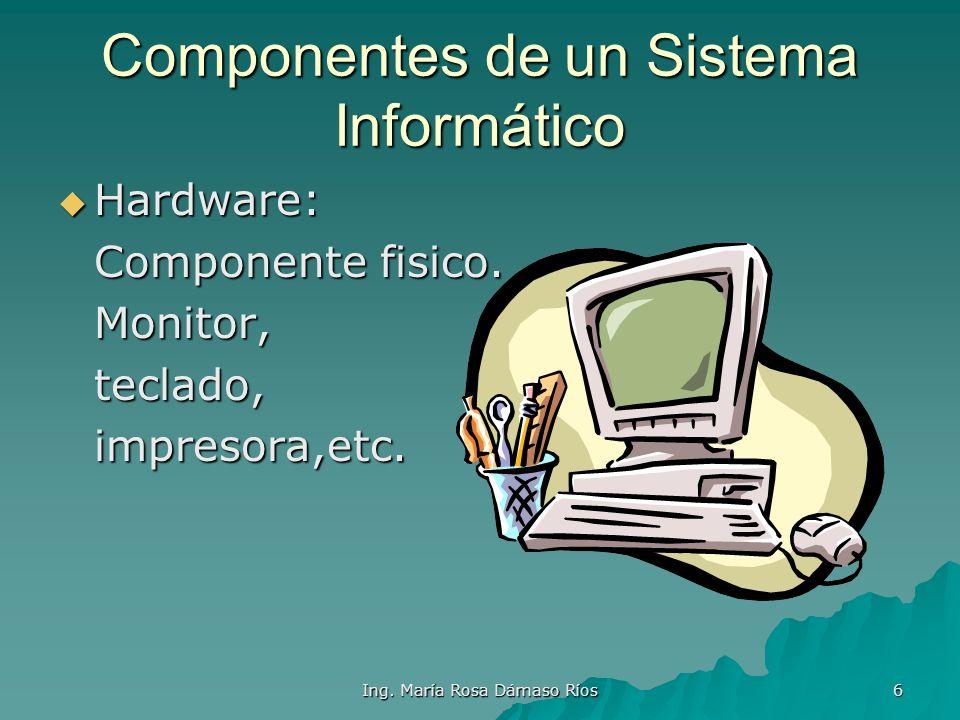 Ing. María Rosa Dámaso Ríos 5 Informática y Computación Informática: Conocimiento cientifico y tecnicas para el tratamiento automatizado y racional de