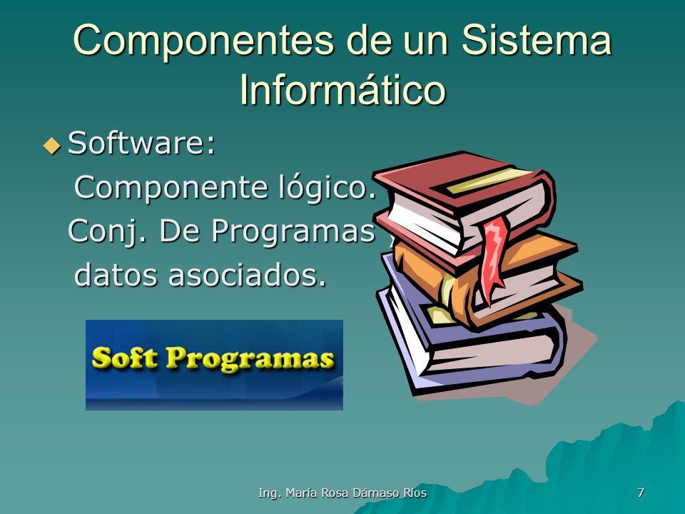 Ing. María Rosa Dámaso Ríos 6 Componentes de un Sistema Informático Hardware: Hardware: Componente fisico. Componente fisico.Monitor,teclado,impresora