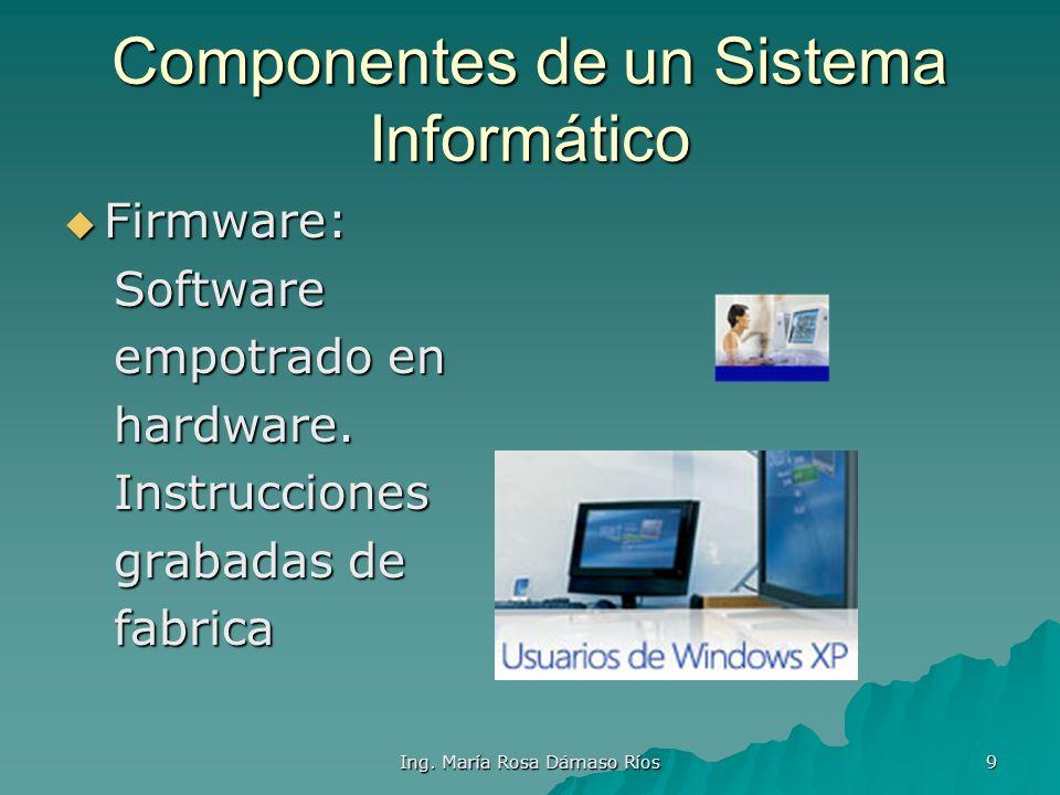 Ing. María Rosa Dámaso Ríos 8 Componentes de un Sistema Informático Personal Informático: Personal Informático: Componente Componente humano. humano.
