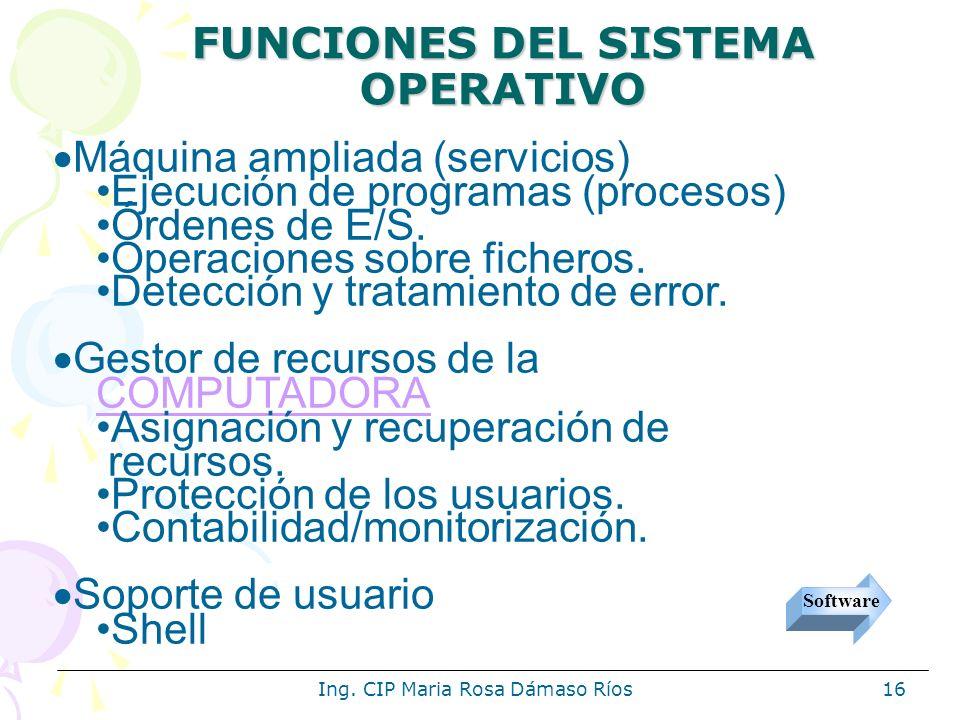 Ing. CIP Maria Rosa Dámaso Ríos16 Máquina ampliada (servicios) Ejecución de programas (procesos) Órdenes de E/S. Operaciones sobre ficheros. Detección