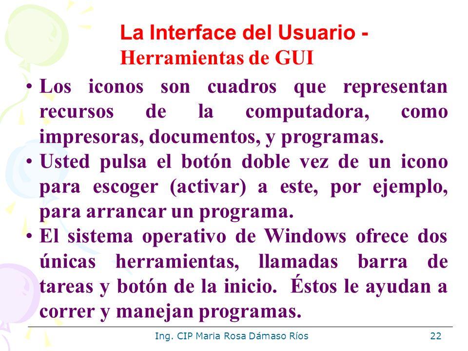 Ing. CIP Maria Rosa Dámaso Ríos22 Los iconos son cuadros que representan recursos de la computadora, como impresoras, documentos, y programas. Usted p