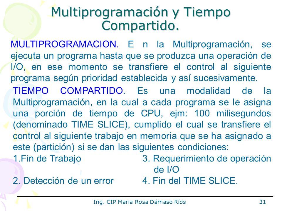 Ing. CIP Maria Rosa Dámaso Ríos31 Multiprogramación y Tiempo Compartido. MULTIPROGRAMACION. E n la Multiprogramación, se ejecuta un programa hasta que