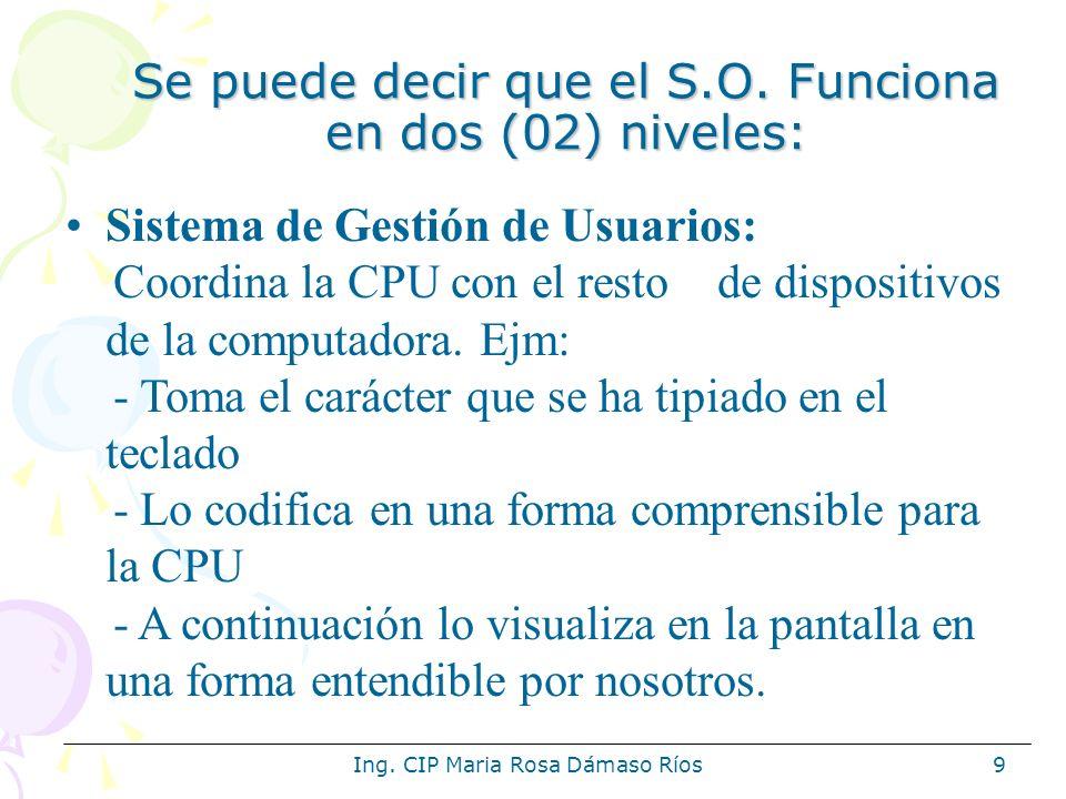 Ing. CIP Maria Rosa Dámaso Ríos9 Se puede decir que el S.O. Funciona en dos (02) niveles: Sistema de Gestión de Usuarios: Coordina la CPU con el resto