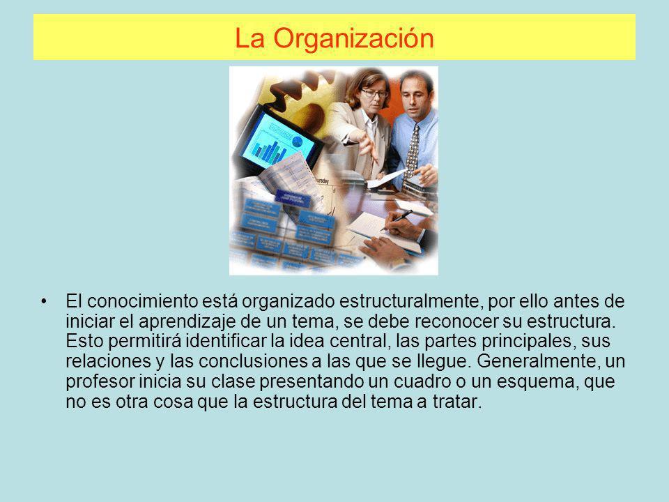La Organización El conocimiento está organizado estructuralmente, por ello antes de iniciar el aprendizaje de un tema, se debe reconocer su estructura