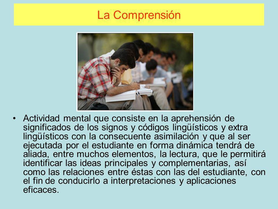 La Comprensión Actividad mental que consiste en la aprehensión de significados de los signos y códigos lingüísticos y extra lingüísticos con la consec