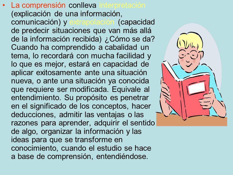 La comprensión conlleva interpretación (explicación de una información, comunicación) y extrapolación (capacidad de predecir situaciones que van más a