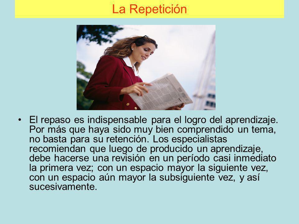 La Repetición El repaso es indispensable para el logro del aprendizaje. Por más que haya sido muy bien comprendido un tema, no basta para su retención