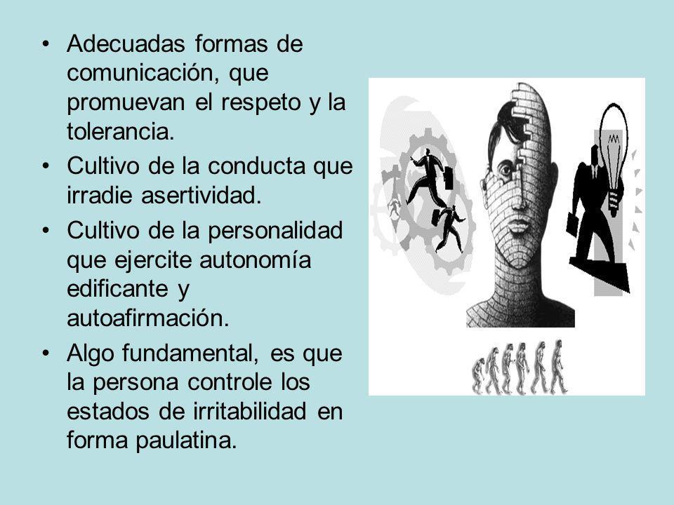 Adecuadas formas de comunicación, que promuevan el respeto y la tolerancia. Cultivo de la conducta que irradie asertividad. Cultivo de la personalidad