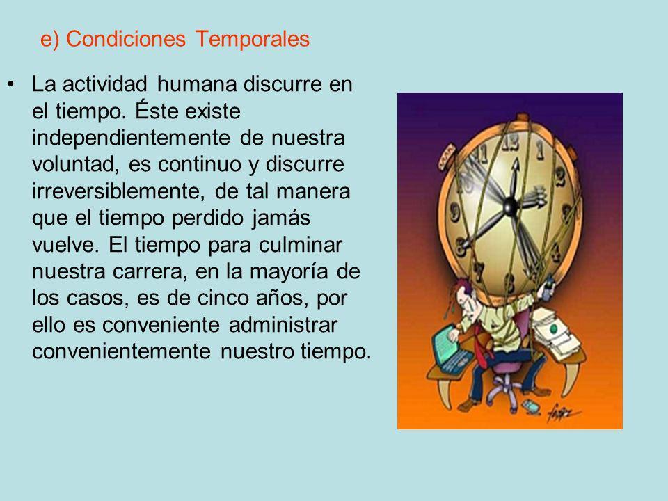 e) Condiciones Temporales La actividad humana discurre en el tiempo. Éste existe independientemente de nuestra voluntad, es continuo y discurre irreve