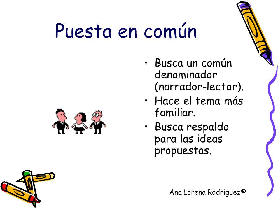 Puesta en común Busca un común denominador (narrador-lector). Hace el tema más familiar. Busca respaldo para las ideas propuestas. Ana Lorena Rodrígue