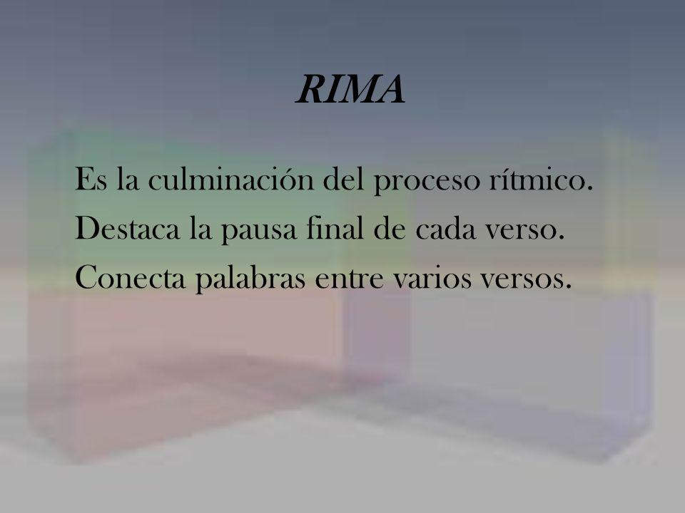 RIMA Es la culminación del proceso rítmico. Destaca la pausa final de cada verso. Conecta palabras entre varios versos.