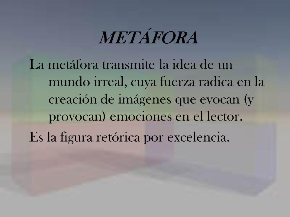 METÁFORA La metáfora transmite la idea de un mundo irreal, cuya fuerza radica en la creación de imágenes que evocan (y provocan) emociones en el lecto