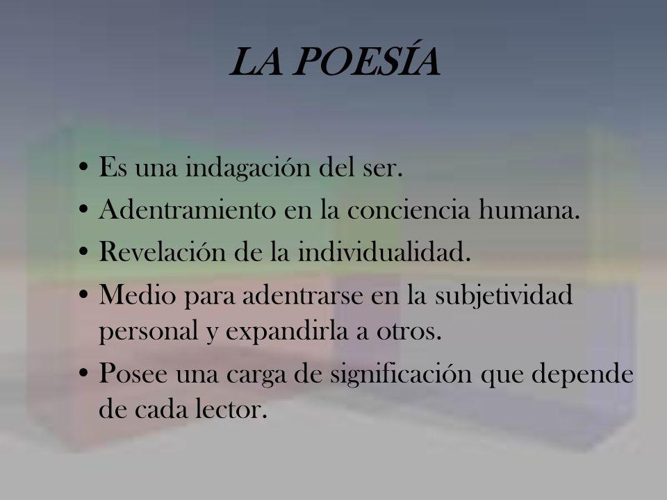 FORMA El verso es el cauce (o forma básica) por el cual discurre la expresión poética.