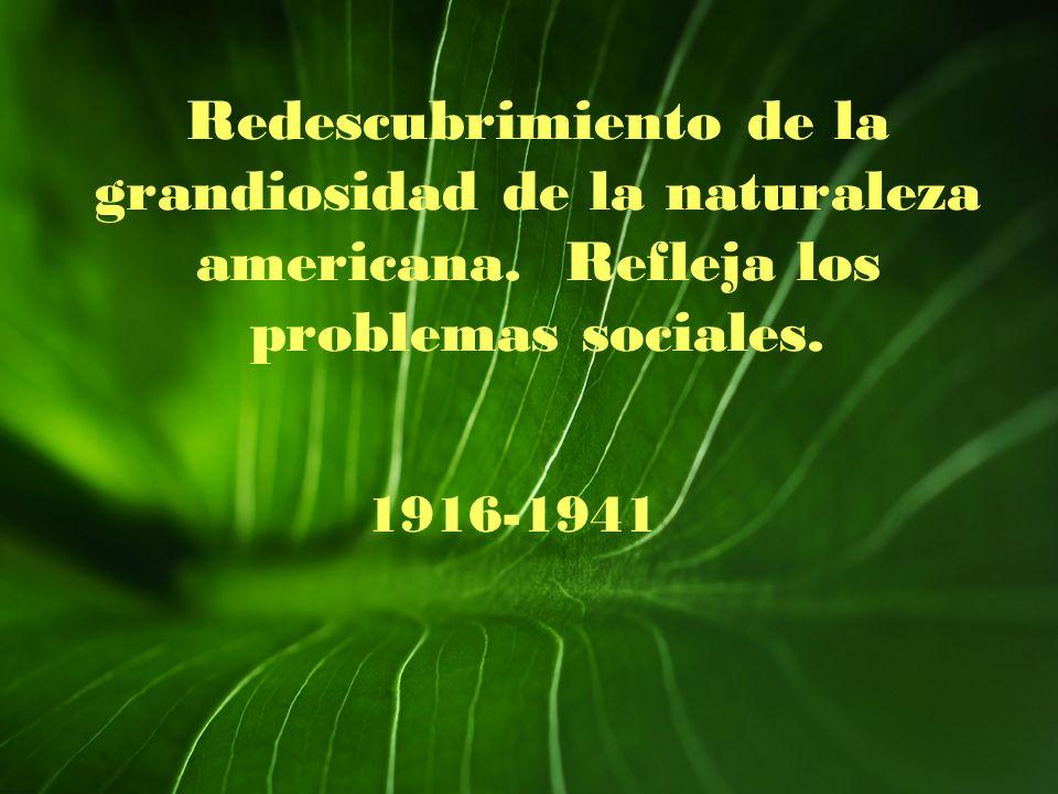 Redescubrimiento de la grandiosidad de la naturaleza americana. Refleja los problemas sociales. 1916-1941