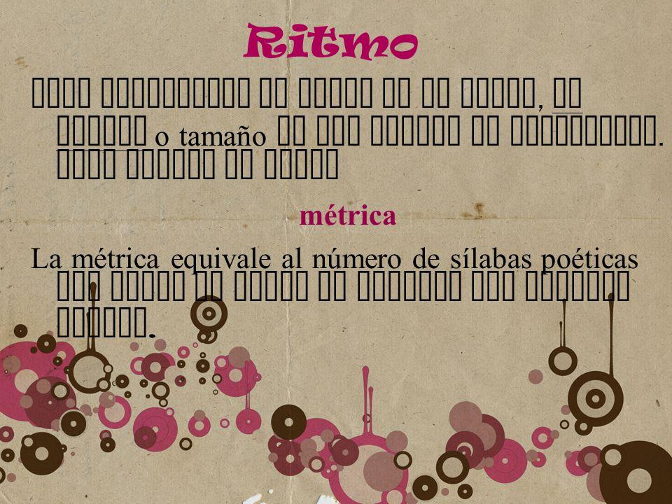 Ritmo Para establecer en ritmo de un poema, la medida o tamaño de los versos es importante. Esta medida se llama métrica La métrica equivale al número