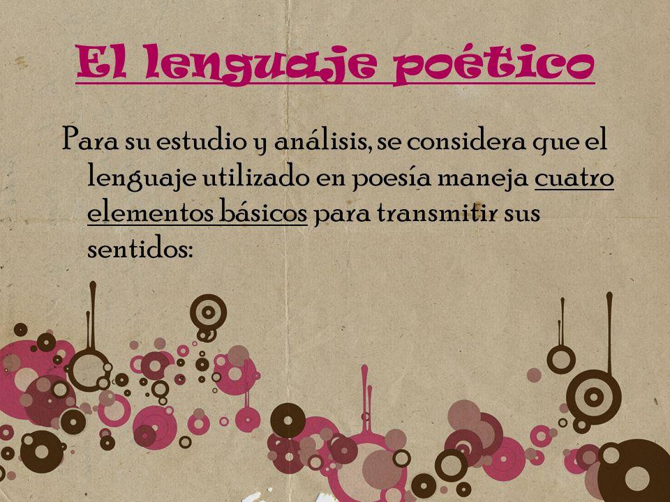 El lenguaje poético Para su estudio y análisis, se considera que el lenguaje utilizado en poesía maneja cuatro elementos básicos para transmitir sus s