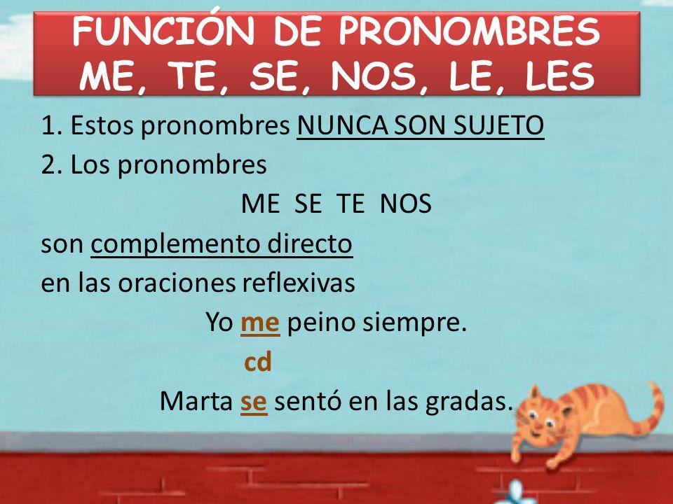 FUNCIÓN DE PRONOMBRES ME, TE, SE, NOS, LE, LES 1. Estos pronombres NUNCA SON SUJETO 2. Los pronombres ME SE TE NOS son complemento directo en las orac