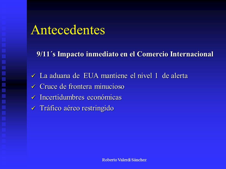 Roberto Valerdi Sánchez Antecedentes 9/11´s Impacto inmediato en el Comercio Internacional La aduana de EUA mantiene el nivel 1 de alerta La aduana de