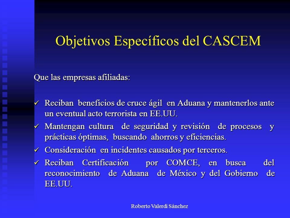 Roberto Valerdi Sánchez Objetivos Específicos del CASCEM Que las empresas afiliadas: Reciban beneficios de cruce ágil en Aduana y mantenerlos ante un