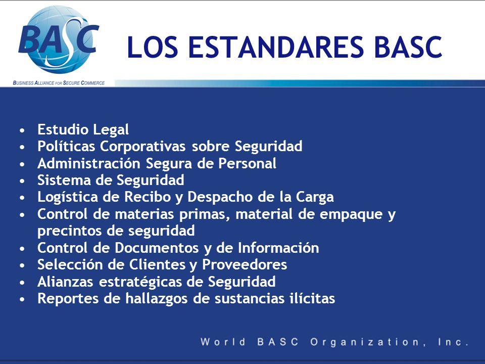 LOS ESTANDARES BASC Estudio Legal Políticas Corporativas sobre Seguridad Administración Segura de Personal Sistema de Seguridad Logística de Recibo y
