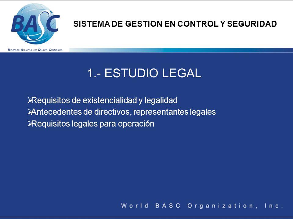 1.- ESTUDIO LEGAL Requisitos de existencialidad y legalidad Antecedentes de directivos, representantes legales Requisitos legales para operación SISTE