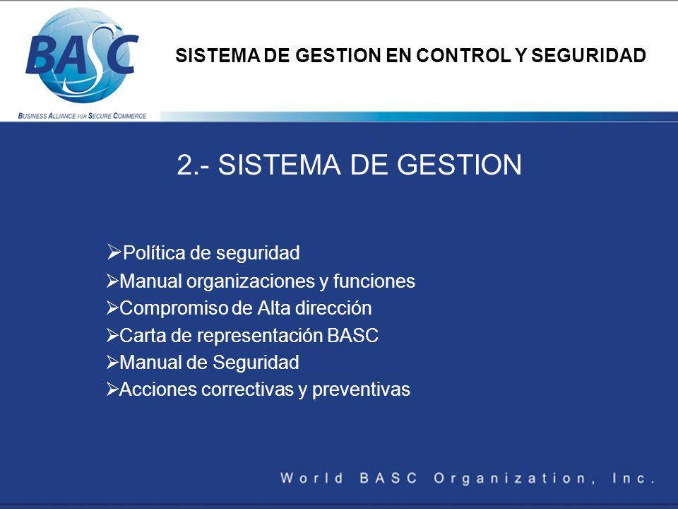 2.- SISTEMA DE GESTION Política de seguridad Manual organizaciones y funciones Compromiso de Alta dirección Carta de representación BASC Manual de Seg
