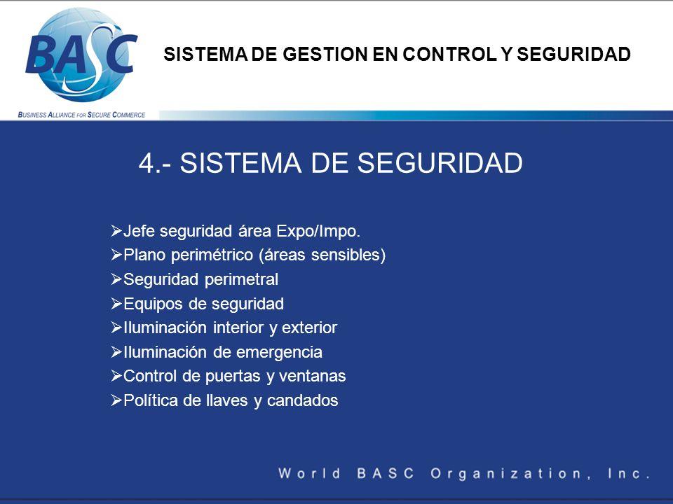 4.- SISTEMA DE SEGURIDAD Jefe seguridad área Expo/Impo. Plano perimétrico (áreas sensibles) Seguridad perimetral Equipos de seguridad Iluminación inte