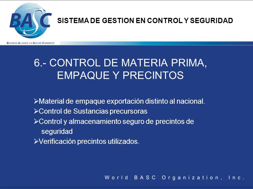 6.- CONTROL DE MATERIA PRIMA, EMPAQUE Y PRECINTOS Material de empaque exportación distinto al nacional. Control de Sustancias precursoras Control y al