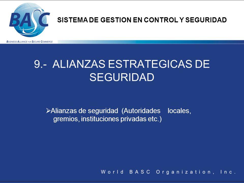 9.- ALIANZAS ESTRATEGICAS DE SEGURIDAD Alianzas de seguridad (Autoridades locales, gremios, instituciones privadas etc.) SISTEMA DE GESTION EN CONTROL