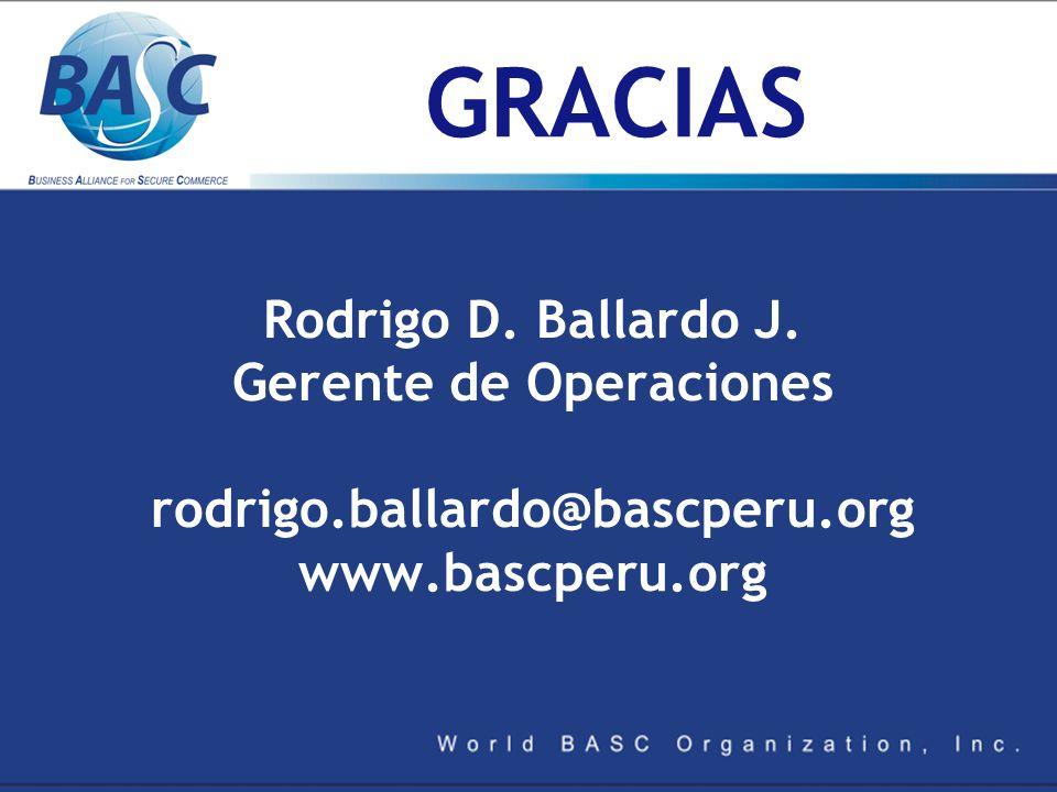 GRACIAS Rodrigo D. Ballardo J. Gerente de Operaciones rodrigo.ballardo@bascperu.org www.bascperu.org