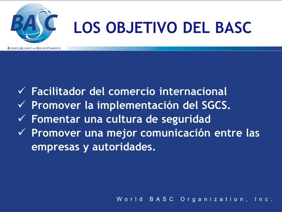 LOS OBJETIVO DEL BASC Facilitador del comercio internacional Promover la implementación del SGCS. Fomentar una cultura de seguridad Promover una mejor