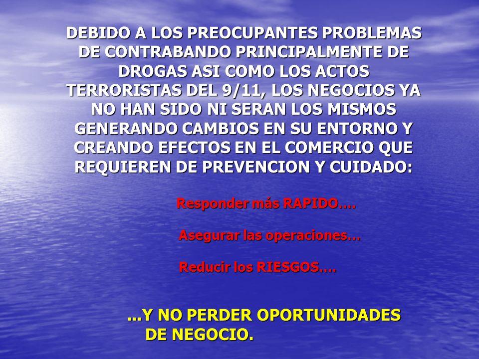 DEBIDO A LOS PREOCUPANTES PROBLEMAS DE CONTRABANDO PRINCIPALMENTE DE DROGAS ASI COMO LOS ACTOS TERRORISTAS DEL 9/11, LOS NEGOCIOS YA NO HAN SIDO NI SE