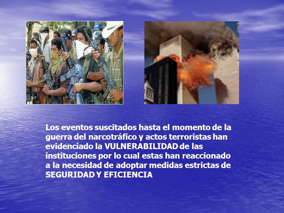 Los eventos suscitados hasta el momento de la guerra del narcotráfico y actos terroristas han evidenciado la VULNERABILIDAD de las instituciones por l