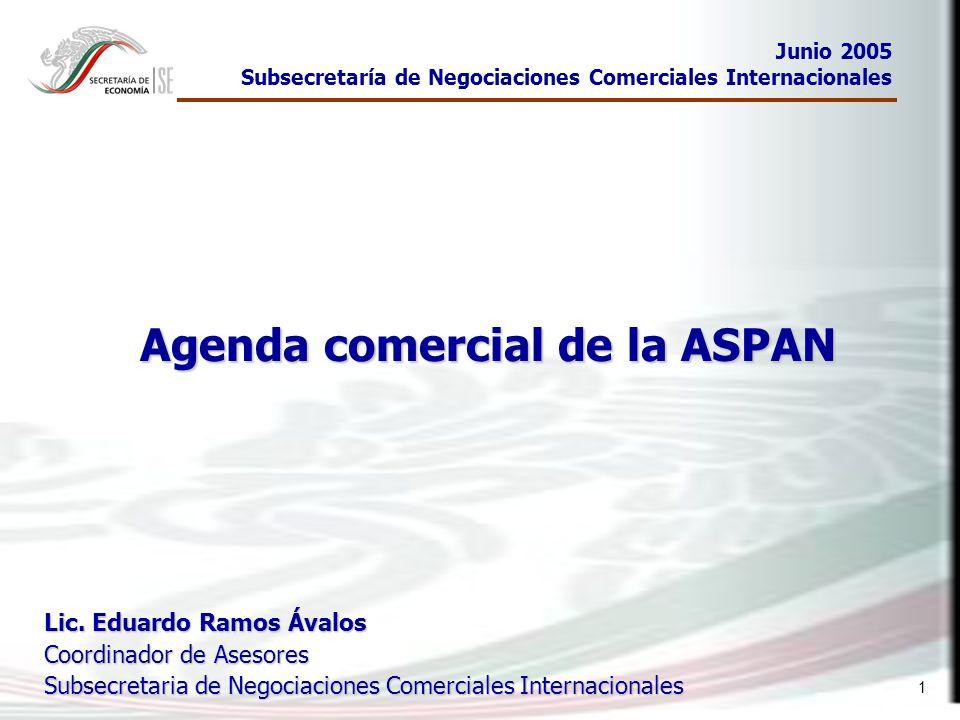 1 Agenda comercial de la ASPAN Junio 2005 Subsecretaría de Negociaciones Comerciales Internacionales Lic. Eduardo Ramos Ávalos Coordinador de Asesores