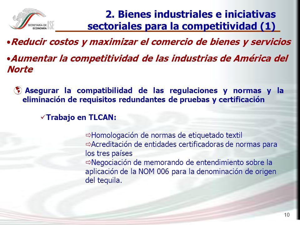 10 Asegurar la compatibilidad de las regulaciones y normas y la eliminación de requisitos redundantes de pruebas y certificación 2. Bienes industriale