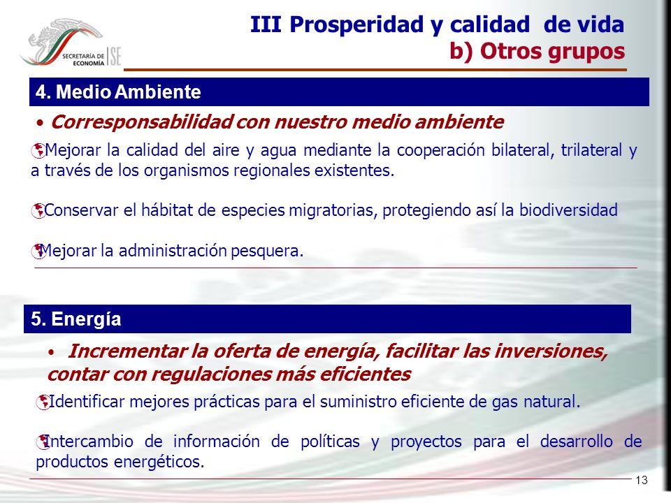 13 III Prosperidad y calidad de vida b) Otros grupos Mejorar la calidad del aire y agua mediante la cooperación bilateral, trilateral y a través de los organismos regionales existentes.