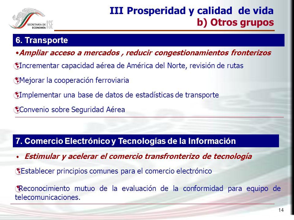 14 III Prosperidad y calidad de vida b) Otros grupos Incrementar capacidad aérea de América del Norte, revisión de rutas Mejorar la cooperación ferrov