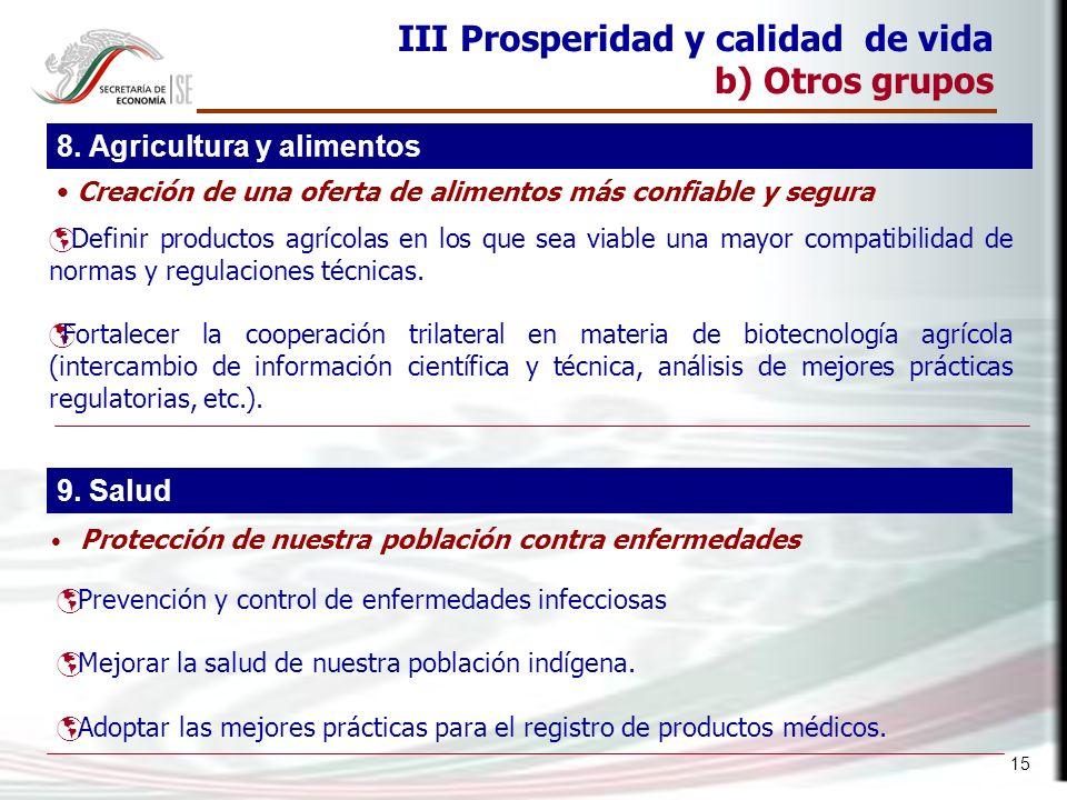 15 III Prosperidad y calidad de vida b) Otros grupos Definir productos agrícolas en los que sea viable una mayor compatibilidad de normas y regulacion